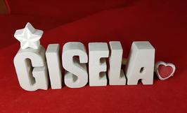 Beton, Steinguss Buchstaben 3D Deko Namen GISELA als Geschenk verpackt mit Stern und Herzklammer!