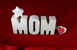 Beton, Steinguss Buchstaben 3D Deko Stern Namen MOM als Geschenk verpackt!