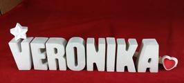 Beton, Steinguss Buchstaben 3D Deko Namen VERONIKA als Geschenk verpackt mit Stern und Herzklammer!