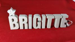 Beton, Steinguss Buchstaben 3D Deko Stern Namen BRIGITTE als Geschenk verpackt!