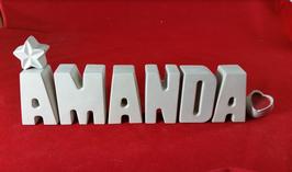 Beton, Steinguss Buchstaben 3D Deko Namen AMANDA als Geschenk verpackt!