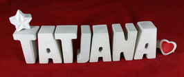Beton, Steinguss Buchstaben 3D Deko Namen TATJANA als Geschenk verpackt mit Stern und Herzklammer!