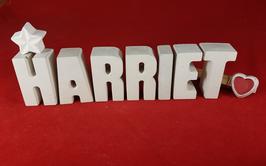 Beton, Steinguss Buchstaben 3D Deko Namen HARRIET als Geschenk verpackt mit Stern und Herzklammer!