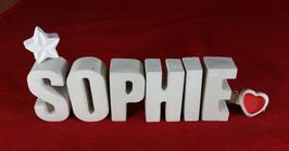 Beton, Steinguss Buchstaben 3D Deko Namen SOPHIE als Geschenk verpackt mit Stern und Herzklammer!
