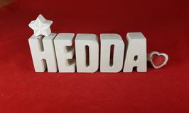 Beton, Steinguss Buchstaben 3D Deko Namen HEDDA als Geschenk verpackt mit Stern und Herzklammer!