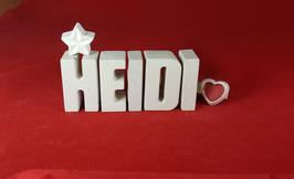 Beton, Steinguss Buchstaben 3D Deko Namen HEIDI als Geschenk verpackt mit Stern und Herzklammer!