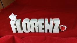 Beton, Steinguss Buchstaben 3D Deko Stern Namen FLORENZ als Geschenk verpackt!