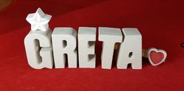 Beton, Steinguss Buchstaben 3D Deko Namen GRETA als Geschenk verpackt mit Stern und Herzklammer!