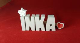 Beton, Steinguss Buchstaben 3D Deko Namen INKA als Geschenk verpackt mit Stern und Herzklammer!