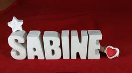 Beton, Steinguss Buchstaben 3D Deko Namen SABINE als Geschenk verpackt mit Stern und Herzklammer!