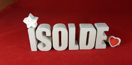 Beton, Steinguss Buchstaben 3D Deko Namen ISOLDE als Geschenk verpackt mit Stern und Herzklammer!