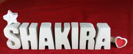 Beton, Steinguss Buchstaben 3D Deko Namen SHAKIRA als Geschenk verpackt mit Stern und Herzklammer!