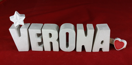 Beton, Steinguss Buchstaben 3D Deko Namen VERONA als Geschenk verpackt mit Stern und Herzklammer!