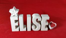 Beton, Steinguss Buchstaben 3D Deko Namen ELISE als Geschenk verpackt mit Stern und Herzklammer!