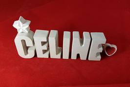 Beton, Steinguss Buchstaben 3D Deko Namen CELINE als Geschenk verpackt!