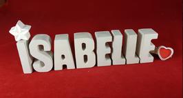 Beton, Steinguss Buchstaben 3D Deko Namen ISABELLE als Geschenk verpackt mit Stern und Herzklammer!