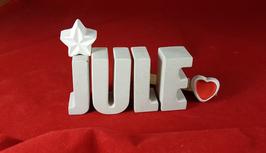 Beton, Steinguss Buchstaben 3D Deko Namen JULE als Geschenk verpackt mit Stern und Herzklammer!