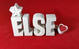 Beton, Steinguss Buchstaben 3D Deko Namen ELSE als Geschenk verpackt mit Stern und Herzklammer!