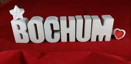 Beton, Steinguss Buchstaben 3D Deko Stern Namen BOCHUM als Geschenk verpackt!