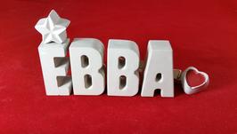 Beton, Steinguss Buchstaben 3D Deko Namen EBBA als Geschenk verpackt mit Stern und Herzklammer!