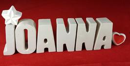 Beton, Steinguss Buchstaben 3D Deko Namen JOANNA als Geschenk verpackt mit Stern und Herzklammer!