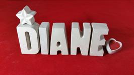 Beton, Steinguss Buchstaben 3D Deko Namen DIANE als Geschenk verpackt mit Stern und Herzklammer!
