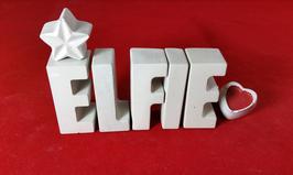 Beton, Steinguss Buchstaben 3D Deko Namen ELFIE als Geschenk verpackt mit Stern und Herzklammer!