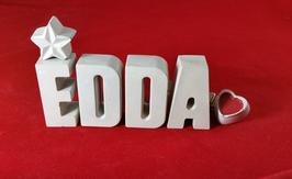 Beton, Steinguss Buchstaben 3D Deko Namen EDDA als Geschenk verpackt mit Stern und Herzklammer!