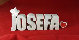 Beton, Steinguss Buchstaben 3D Deko Namen JOSEFA als Geschenk verpackt mit Stern und Herzklammer!