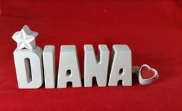 Beton, Steinguss Buchstaben 3D Deko Namen DIANA als Geschenk verpackt mit Stern und Herzklammer!