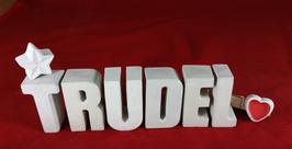 Beton, Steinguss Buchstaben 3D Deko Namen TRUDEL als Geschenk verpackt mit Stern und Herzklammer!