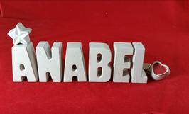 Beton, Steinguss Buchstaben 3D Deko Namen ANABEL als Geschenk verpackt!