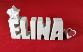 Beton, Steinguss Buchstaben 3D Deko Namen ELINA als Geschenk verpackt mit Stern und Herzklammer!