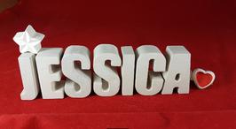 Beton, Steinguss Buchstaben 3D Deko Namen JESSICA als Geschenk verpackt mit Stern und Herzklammer!