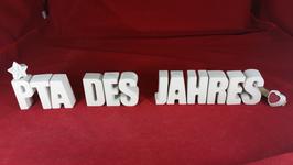 Beton, Steinguss Buchstaben 3D Deko Stern Namen PTA DES JAHRES als Geschenk verpackt!