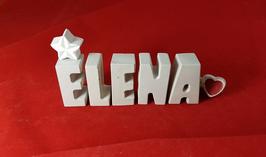 Beton, Steinguss Buchstaben 3D Deko Namen ELENA als Geschenk verpackt mit Stern und Herzklammer!