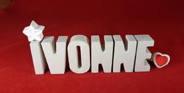 Beton, Steinguss Buchstaben 3D Deko Namen IVONNE als Geschenk verpackt mit Stern und Herzklammer!