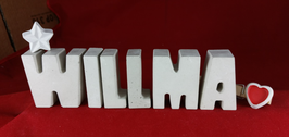Beton, Steinguss Buchstaben 3D Deko Namen WILLMA als Geschenk verpackt mit Stern und Herzklammer!