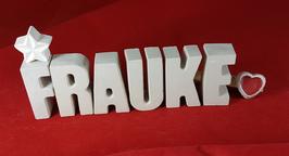 Beton, Steinguss Buchstaben 3D Deko Namen FRAUKE als Geschenk verpackt mit Stern und Herzklammer!