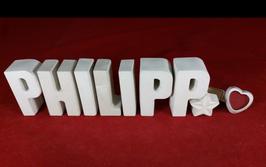 Beton, Steinguss Buchstaben 3D Deko Namen PHILIPP als Geschenk verpackt!