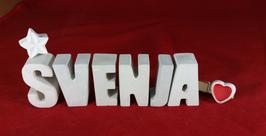 Beton, Steinguss Buchstaben 3D Deko Namen SVENJA als Geschenk verpackt mit Stern und Herzklammer!