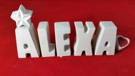 Beton, Steinguss Buchstaben 3D Deko Stern Namen ALEXA als Geschenk verpackt!