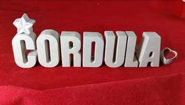Beton, Steinguss Buchstaben 3D Deko Namen CORDULA als Geschenk verpackt!