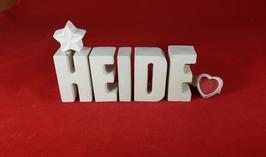 Beton, Steinguss Buchstaben 3D Deko Namen HEIDE als Geschenk verpackt mit Stern und Herzklammer!