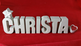 Beton, Steinguss Buchstaben 3D Deko Namen CHRISTA als Geschenk verpackt!