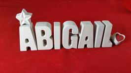 Beton, Steinguss Buchstaben 3D Deko Stern Namen ABIGAIL als Geschenk verpackt!