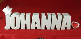 Beton, Steinguss Buchstaben 3D Deko Namen JOHANNA als Geschenk verpackt mit Stern und Herzklammer!