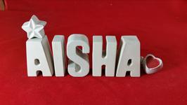 Beton, Steinguss Buchstaben 3D Deko Stern Namen AISHA als Geschenk verpackt!