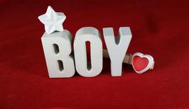 Beton, Steinguss Buchstaben 3D Deko Stern Namen BOY als Geschenk verpackt!