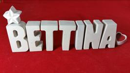 Beton, Steinguss Buchstaben 3D Deko Stern Namen BETTINA als Geschenk verpackt!